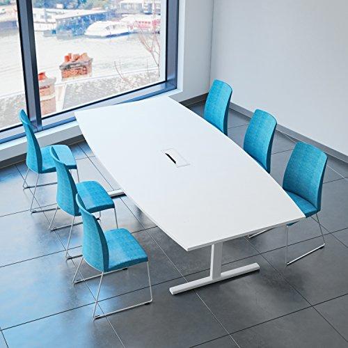Weber Büro Easy Konferenztisch Bootsform 240x120 cm Weiß mit Elektrifizierung Besprechungstisch Tisch