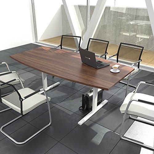 Weber Büroleben GmbH Easy Konferenztisch Bootsform 180x100 cm Nussbaum Besprechungstisch Tisch