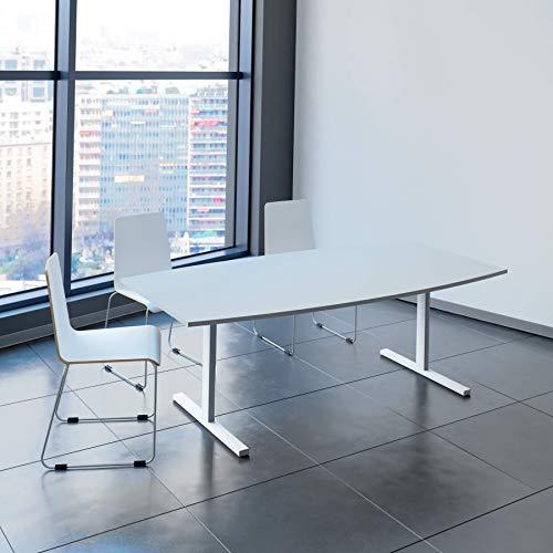 Weber Büroleben GmbH Easy Konferenztisch Bootsform 200x100 cm Lichtgrau Besprechungstisch Tisch