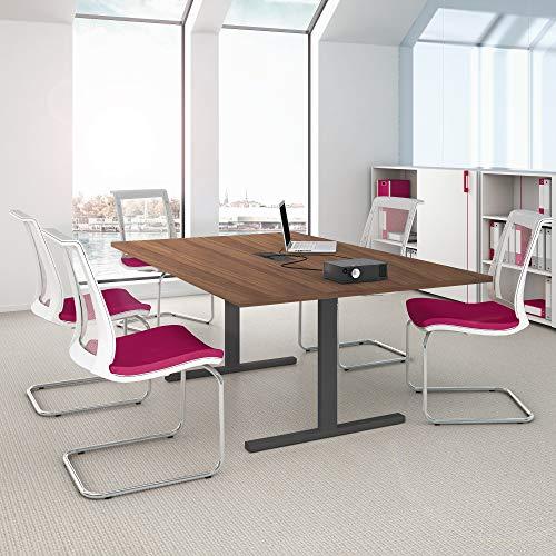 WeberBÜRO Easy Konferenztisch 200x120cm Nussbaum mit Elektrifizierung Besprechungs-Tisch