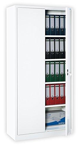 Weißer Flügeltürenschrank Schrank Stahl Stahlblech Lagerschrank Aktenschrank 4 Fachböden 530347 weiß 1950 x 920 x 420 mm kompl. montiert und verschweißt