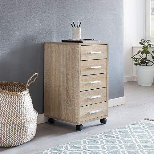 Wohnling Rollcontainer Lisa 33 x 63 x 38 cm Holz Schubladenschrank Schreibtisch | Büro Schrank mit 5 Schubladen | Container Rollschrank klein Standcontainer schmal | Schreibtischcontainer mit Rollen