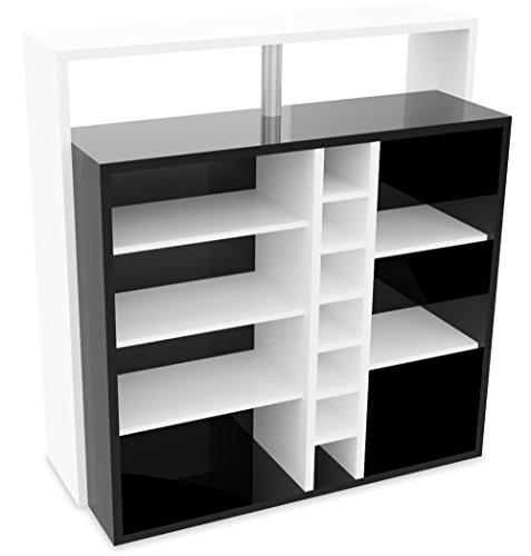 demeyere Pianoi Bar-Einheit - 7 Nischen Spanplatte Weiß/Schwarz 110.2 x 48.1 x 112.5 cm