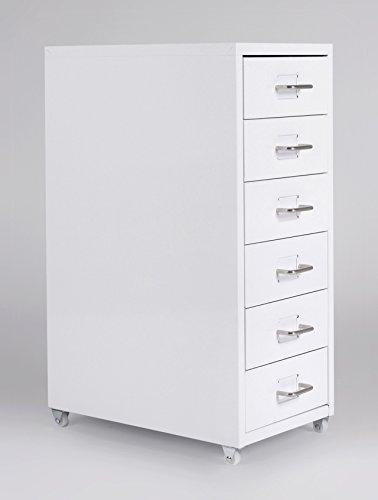 lifestyle4living Rollcontainer Metall weiß mit Schubladen | Rollschrank | Unterschrank | Schubladencontainer | Schreibtischcontainer