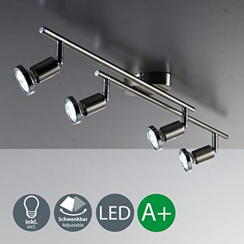 B.K.Licht LED Deckenleuchte Schwenkbar inkl. 4 x 3W 250LM GU10 LED Lampen, Warmweiß, LED Deckenlampe, Deckenspot