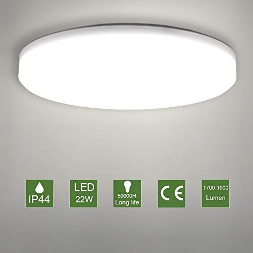 Badezimmer küche LED Deckenleuchte Rund Deckenlampe 22W Natürliches Weiß Deckenleuchte für Wohnzimmer Büro Badezimmer Flur Küche,1900 lm, IP44, 4500K, Ø30 cm