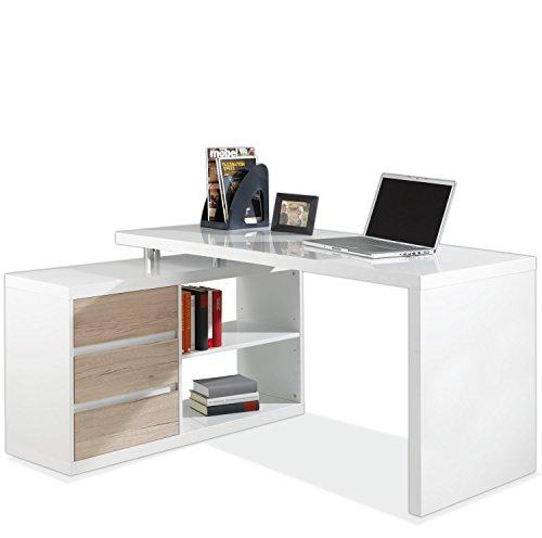 Eckschreibtisch Schreibtisch Computertisch Arbeitstisch MIKOSCH | Weiß Hochglanz