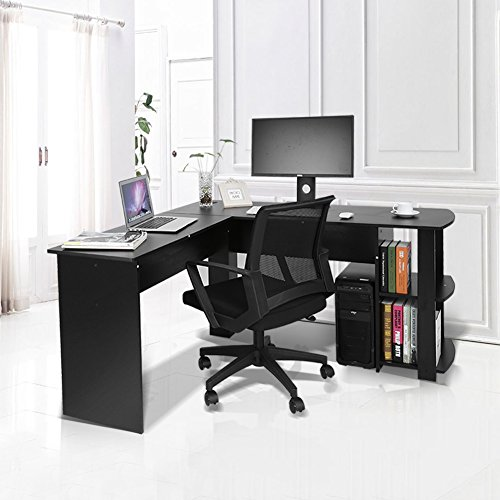 GOTOTOP L-Form Ecke Computertisch Laptoptisch Arbeitstisch Bürotisch Ablage Weiß/Schwarz