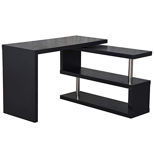 HOMCOM Computertisch Eckschreibtisch Winkelschreibtisch Schreibtisch Bürotisch PC Tisch Schwarz/Weiß