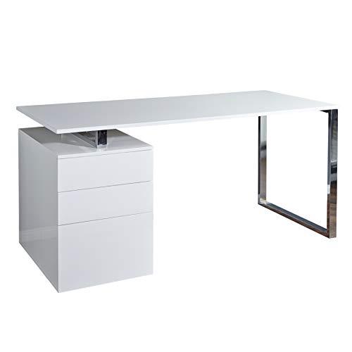 Invicta Interior Design Schreibtisch COMPACT Hochglanz Weiss Bürotisch 160cm Tisch Büro Chrom Arbeitszimmer