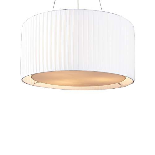 Invicta Interior Moderne Design Hängelampe SOBRIETA weiß 65 cm höhenverstellbar Hängeleuchte Plissee Optik Lampe Essbereich