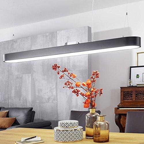 LED-Deckenleuchte LINE Matt schwarz Metall EEK A+ Büro-Deckenlampe 48 Watt 120 x 121 x 15 cm | Design Arbeitsplatz Hängelampe 4080 Lumen kaltweiß ohne Schirm | Office Pendellampe IP20