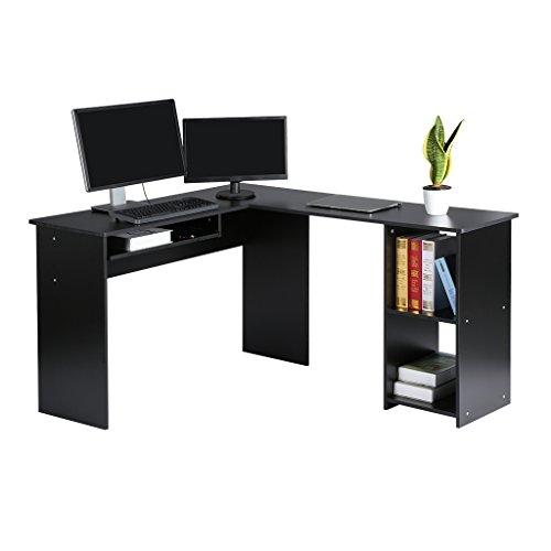 Langria Großer L-förmiger Computertisch mit verschiebbarem Tastaturfach und 2-Buchregal-Ecktisch