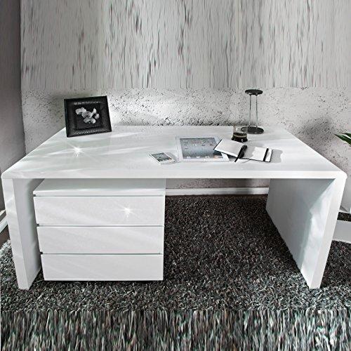 """MODERNER DESIGN SCHREIBTISCH """"HELSINKI"""" holztisch bürotisch 140 cm hochglanz Tisch weiß"""