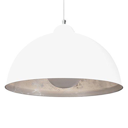 Moderne Hängelampe STUDIO weiß silber Lampe E27 60W Blattsilber Optik Hängeleuchte Pendelleuchte Wohnzimmer Esszimmer