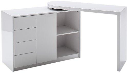 Robas Lund, Tisch, Schreibtisch, Computertisch, Matt, Hochglanz/weiß, 42 x 166 x 77 cm, 40220WW2