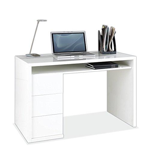 Schreibtisch Computertisch Arbeitstisch MORTEN 3 | Weiß Hochglanz