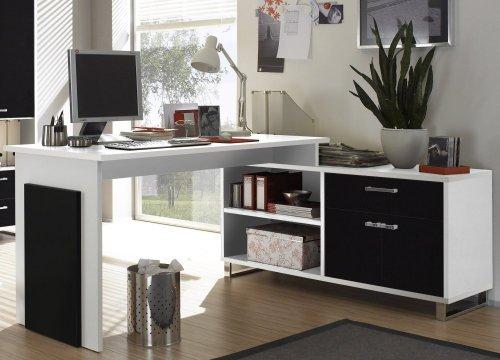Stella Trading Manager Schreibtisch, Arbeitsplatz, Holzdekor, Weiß-Schwarz, (B/H/T) 140/130 x 76/62 x 65/40 cm