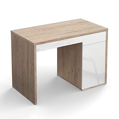 Vicco Schreibtisch Sorento 110 x 60 cm Sonoma/Weiß Hochglanz - Schreibtisch Arbeitstisch Bürotisch