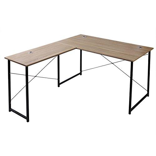 WOLTU TSB12hei Eckschreibtisch Schreibtisch Computertisch Büromöbel PC Tisch Bürotisch Arbeitstisch Winkelschreibtisch aus Holz ca.140x120x75 cm