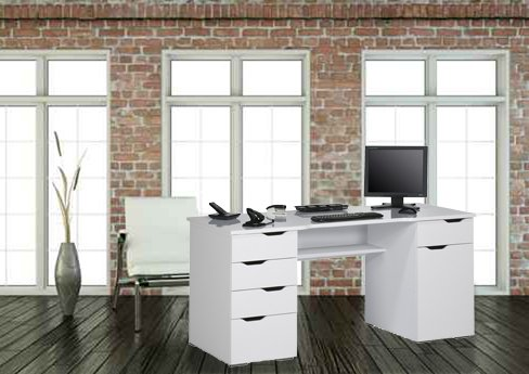 lisel-de Computertisch Schreibtisch Maja in Weiß Hochglanz - Icy Weiß 160x74,5x67cm Bürotisch