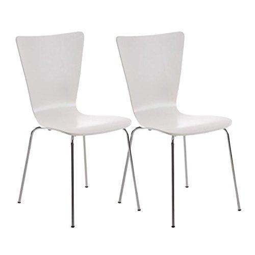 2er Set Besucherstühle, Konferenzstühle, Wartezimmerstühle, Esszimmerstuhl, Küchenstuhl, Stühle, Wohnzimmerstühle, Wartestuhl, Messestuhl Holz weiß #Aaron