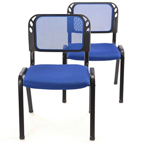 2er Set Bürostuhl Konferenzstuhl Besucherstuhl blau gepolsterte Sitzfläche stapelbar 52,5 x 45 x 80 cm Stapelstuhl Metallrahmen schwarz