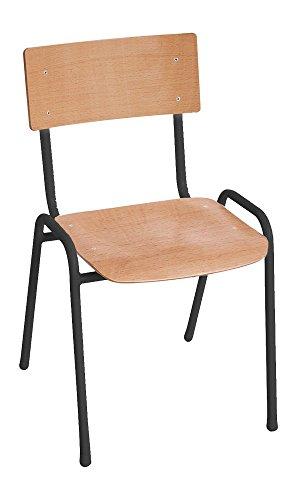 4er SET Mehrzweckstuhl Stapelstuhl PROsteel Basic Buche/Schwarz Besucherstuhl Werkstatt Stuhl