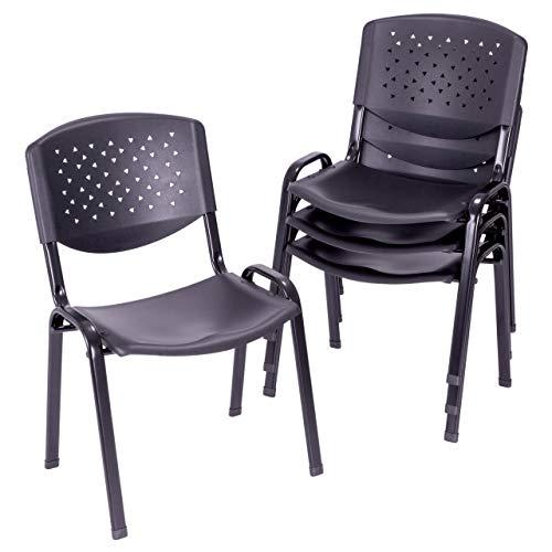 4er Set Bürostuhl Konferenzstuhl Besucherstuhl schwarz LxBxH 48 x 54 x 79 cm Stapelstuhl Metallrahmen stabil Sitzfläche Kunststoff