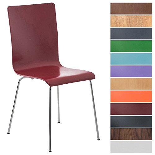 CLP Wartezimmerstuhl Pepe mit ergonomisch geformten Holzsitz und Metallgestell I Konferenzstuhl I erhältlich