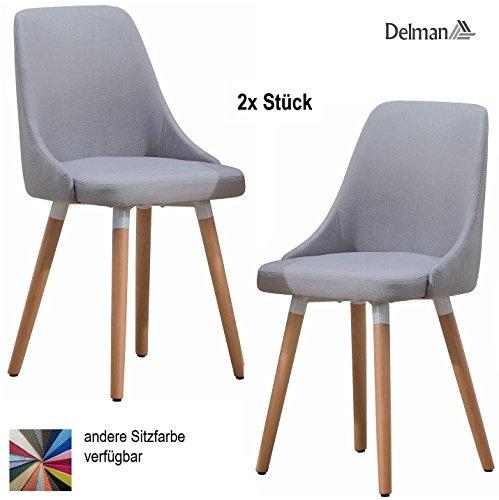 Delman Besucherstuhl Esszimmerstuhl Wohnzimmerstuhl Armsessel Sessel Stoff-Bezug Küchenstuhl 2 Stück 02-0017