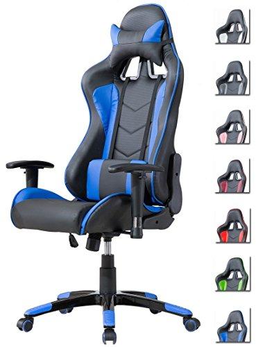 Delman Racing Bürostuhl Gaming Chair Schreibtischstuhl Drehstuhl Sportsitz Ergonomischer PU Leder Höhenverstellbar mit Armlehnen 02-1004