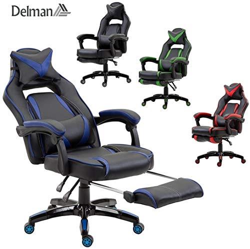 Delman XXL Size Gaming Stuhl Computerstuhl Chefsessel Kunstleder Bürostuhl Höhenverstellbarer Schreibtischstuhl Ergonomisches Design mit Fußstütze und Wippfunktion Dicke Polsterung von 11 cm RS0019