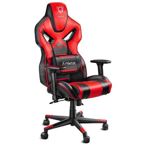 Diablo® X-Fighter Gaming Stuhl Bürostuhl Verstellbare Armlehnen 3D Belastbarkeit bis 150 kg Lendenkissen Wippfunktion Kunstlederbezug Perforiert Farbwahl