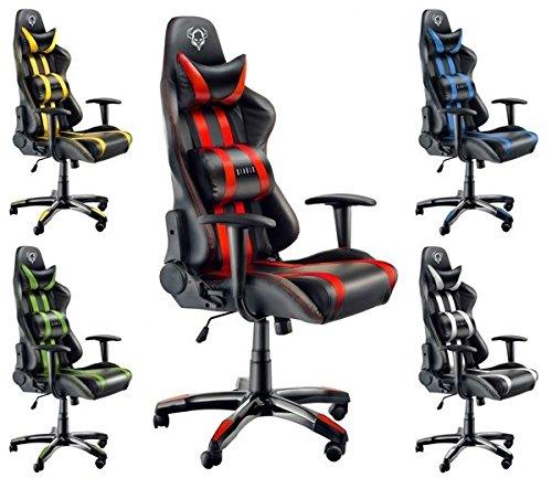 Diablo X-One Gaming Stuhl Schreibtischstuhl Wippfunktion verstellbare Lenden/- Kopfkissen Kunstleder höhenverstellbar versch. Farben