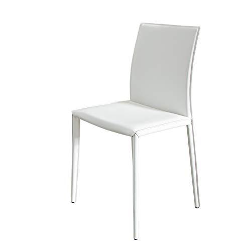 Invicta Interior Stuhl Milano Echtleder weiß Ziernaht Esszimmerstuhl Besucherstuhl Konferenzstuhl