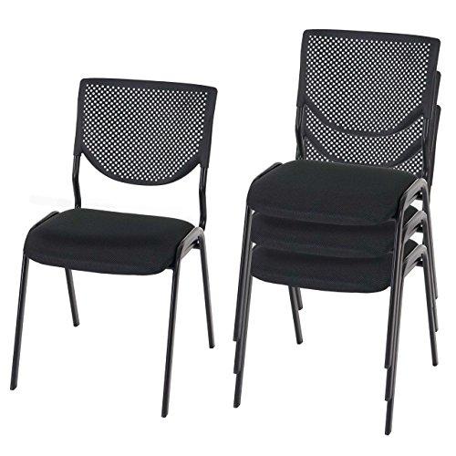 Mendler 4X Besucherstuhl T401, Konferenzstuhl stapelbar, Stoff/Textil ~ Sitz schwarz, Füße schwarz