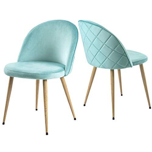 Modern Luxe   ® Esszimmerstuhl Wohnzimmerstuhl SAMT Stoff Polsterstuhl Loungesessel Weicher Sitz und Rücken, mit Holzernen Metallbeinen, 2er Set,Farbauswahl