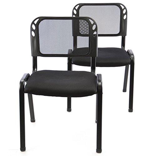 Nexos 2er Set Bürostuhl Konferenzstuhl Besucherstuhl schwarz gepolsterte Sitzfläche stapelbar 52,5 x 45 x 80 cm Stapelstuhl Metallrahmen schwarz