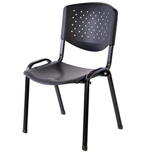 Nexos Bürostuhl Konferenzstuhl Besucherstuhl schwarz LxBxH 48 x 54 x 79 cm Stapelstuhl Metallrahmen stabil Sitzfläche Kunststoff