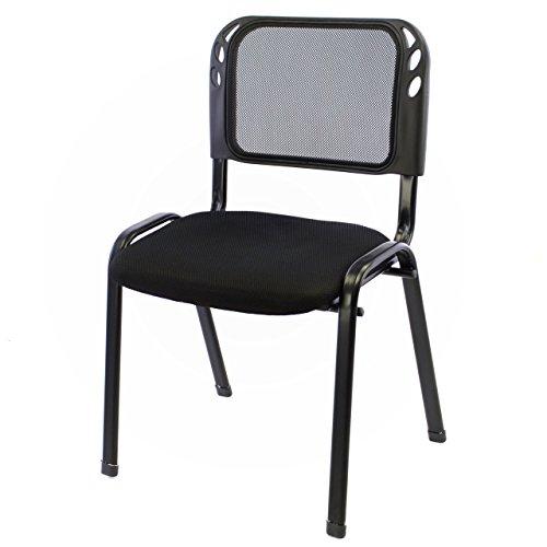 Nexos Bürostuhl Konferenzstuhl Besucherstuhl schwarz gepolsterte Sitzfläche stapelbar 52,5 x 45 x 80 cm Stapelstuhl Metallrahmen schwarz