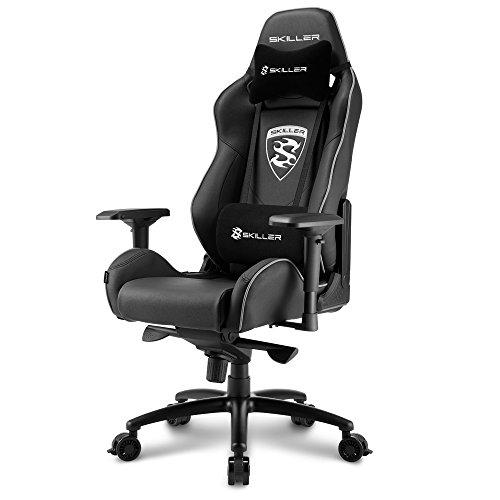 Sharkoon Skiller SGS3 Premium Gaming Stuhl, mit Kunstlederbezug, Aluminiumfußkreuz, extragroße Rollen mit Bremsfunktion, 4-Wege-Armlehnen, Stahlrahmen, Kopf- und Lendenkissen mit Stoffbezug