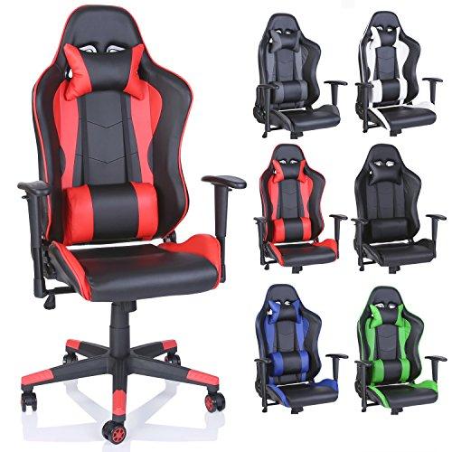 TRESKO Racing Drehstuhl Bürostuhl Sportsitz Chefsessel Gaming Stuhl 6 Farbvarianten, Wippmechanik, stufenlos verstellbare Rückenlehne