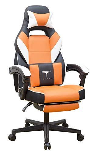 Topsky hohe Rückenlehne Racing Stil PU-Leder Executive Computer Gaming Bürostuhl Ergonomisches liegendes Design mit Lendenkissen Fußstütze und Kopfstütze