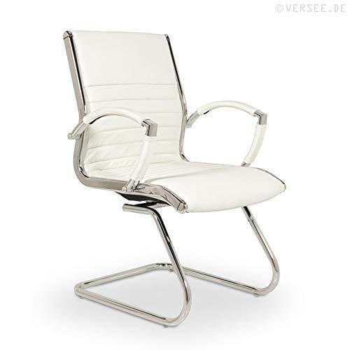 VERSEE Design Besucherstuhl Montreal -- Echt-Leder -- weiß -- Konferenzstuhl, Freischwinger, Schwingstuhl, Meetingstuhl, Besprechungsstuhl, Bürodstuhl, mit Armlehnen, Ergonomisch, massives Metall-gestell in Chrom, niedrige Rückenlehne, Designklassiker, hochwertige Verarbeitung, Büro Sessel, 150 kg belastbar