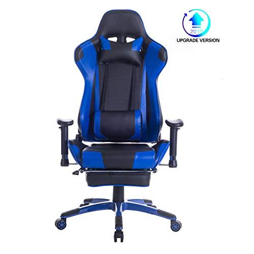 Wolmics Memory-Schaum Gaming Stuhl mit Fußstütze, Verstellbare Kopfstütze und Lordosenstütze,Ergonomische hohe Rückenlehne aus Leder .Exklusiver Computer-Bürostuhl