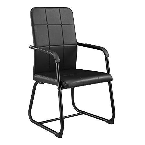 [en.casa] Konferenzstuhl 92 x 49 x 57cm Schwarz Bürostuhl Besucherstuhl Büro Stuhl Esszimmerstuhl