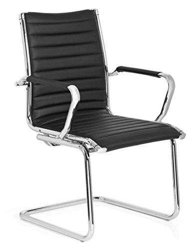 hjh OFFICE 660942 Besucherstuhl Freischwinger VEMONA V Kunstleder Schwarz/Chrom Büro Konferenzstuhl Stuhl mit Armlehnen