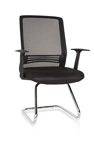 hjh OFFICE 735200 Konferenzstuhl STARTEC V-GY300 Stoff/Netzstoff Schwarz Besucherstuhl Freischwinger mit Armlehne