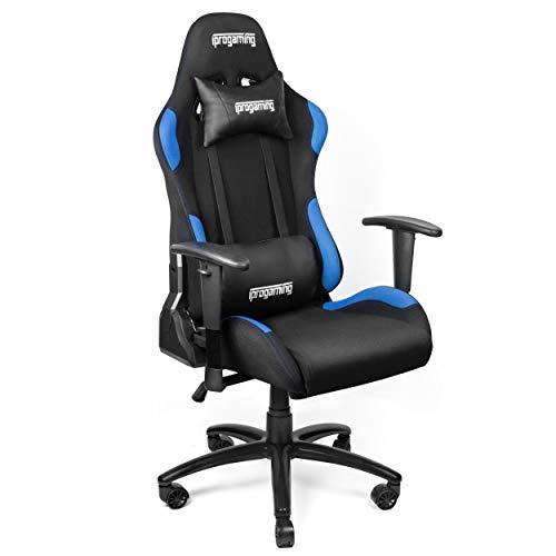 iProgaming | Gaming Stuhl | Liegefunktion | Bezug aus Stoff in Schwarz-Blau | Belastbarkeit bis zu 200 kg